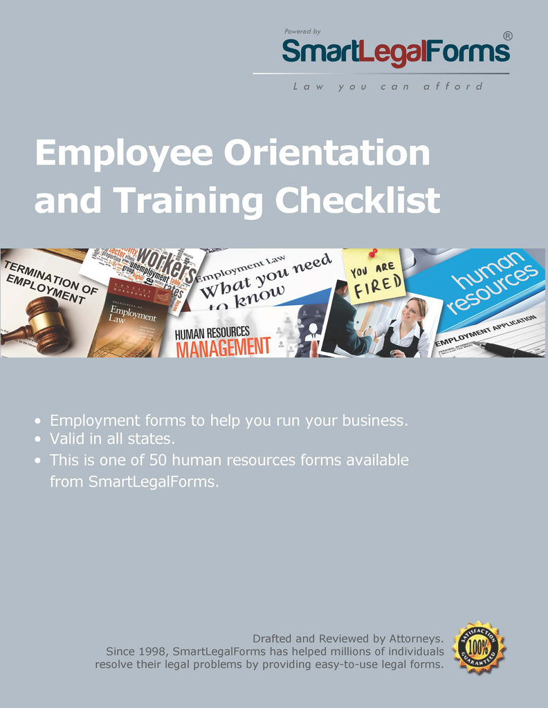 Employee Orientation and Training Checklist - SmartLegalForms