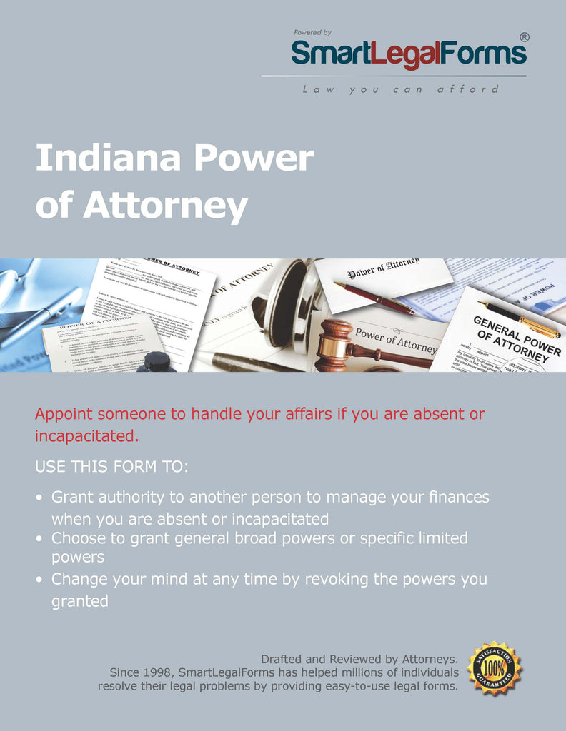 Power Of Attorney Indiana SmartLegalForms - Indiana legal forms
