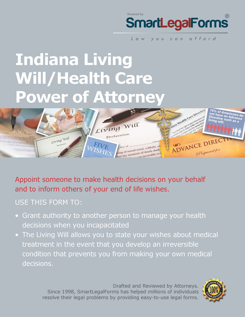 Indiana Living WillHealth Care Power Of Attorney SmartLegalForms - Indiana legal forms