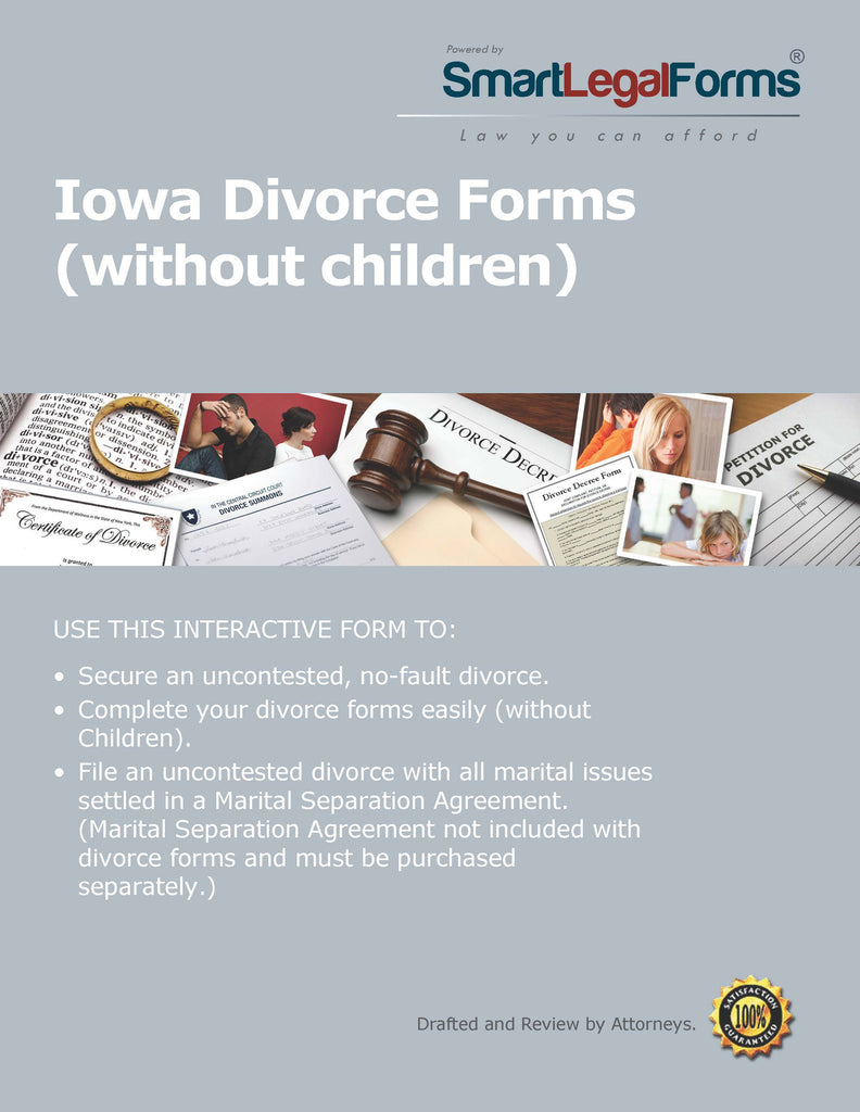 Iowa Divorce Forms without Minor Children - SmartLegalForms