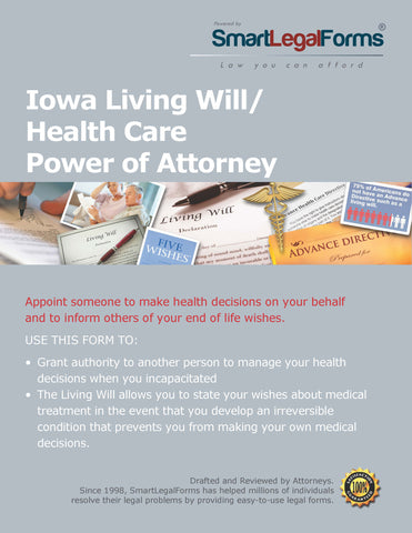 Iowa Living Will/Health Care Power of Attorney - SmartLegalForms
