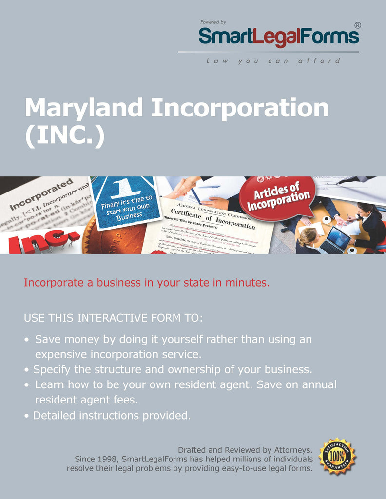 Articles of Incorporation (Stock Corporation) - Maryland - SmartLegalForms
