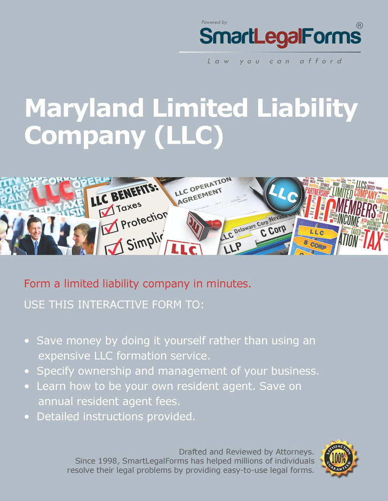 Articles Of Organization LLC Maryland SmartLegalForms - Corporation legal form
