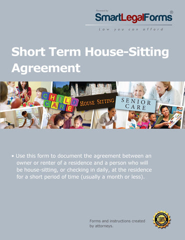 Short Term House Sitting Agreement - SmartLegalForms
