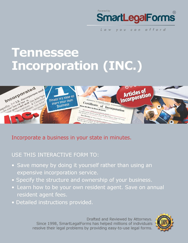 Articles Of Incorporation Tennessee SmartLegalForms - Tennessee legal forms