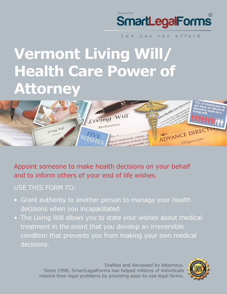 Vermont Living Will/Health Care Power of Attorney - SmartLegalForms