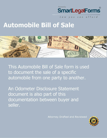 Automobile Bill of Sale - SmartLegalForms