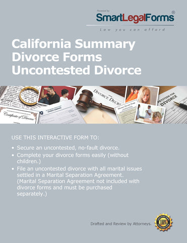California Summary Dissolution (Divorce)  Forms - SmartLegalForms