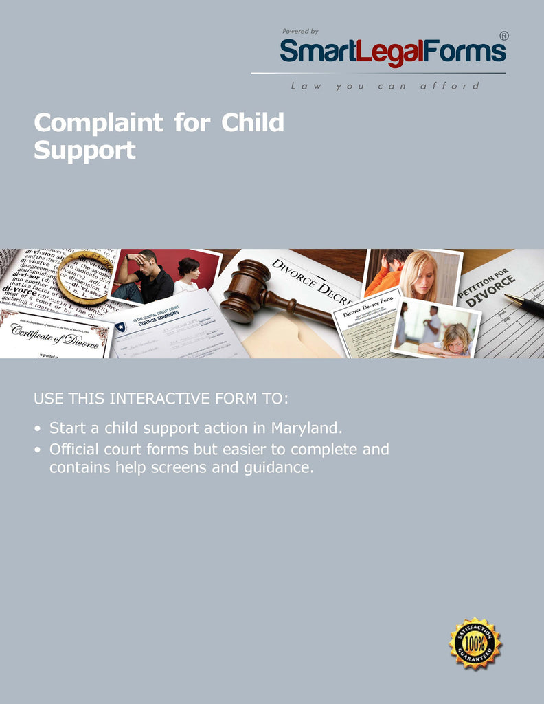 Maryland Complaint for Child Support - SmartLegalForms