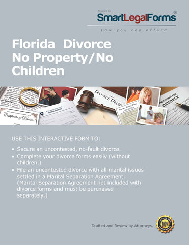 Florida Divorce Forms No Property No Children Divorce - SmartLegalForms