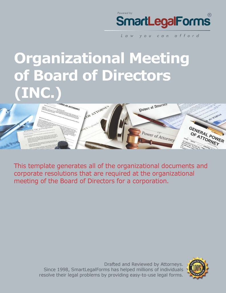 Organizational Meeting of the Board of Directors - SmartLegalForms