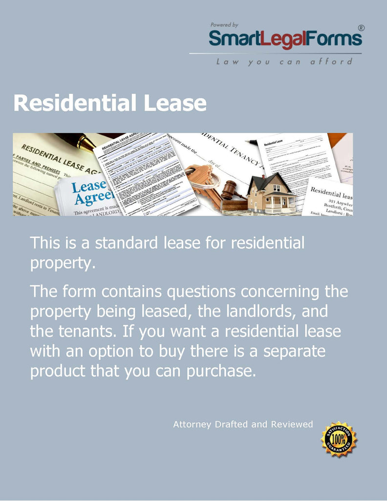 Residential Lease With No Option to Purchase - SmartLegalForms