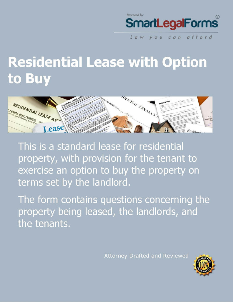 Residential Lease With An Option To Purchase