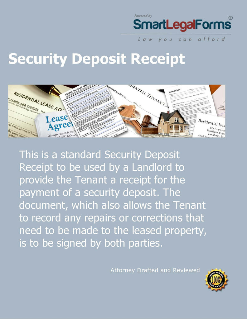 Security Deposit Receipt - SmartLegalForms