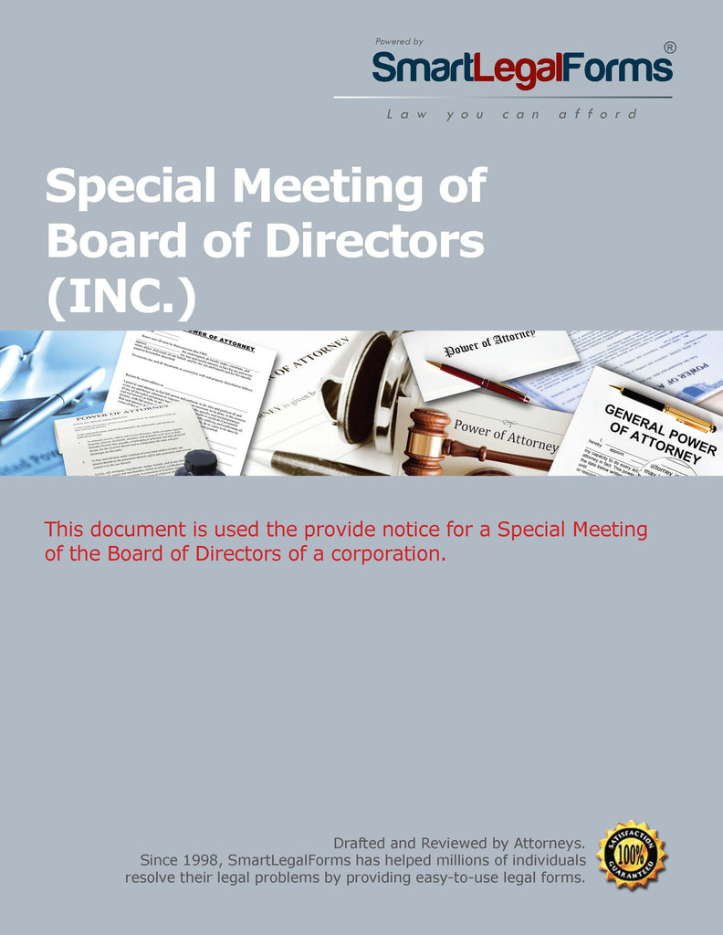 Special Meeting of the Board of Directors - SmartLegalForms