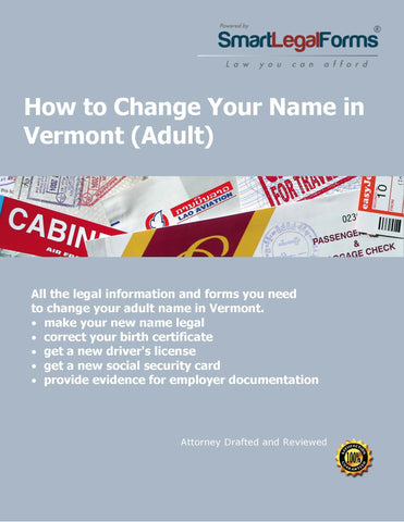 Vermont Name Change (Adult) - SmartLegalForms
