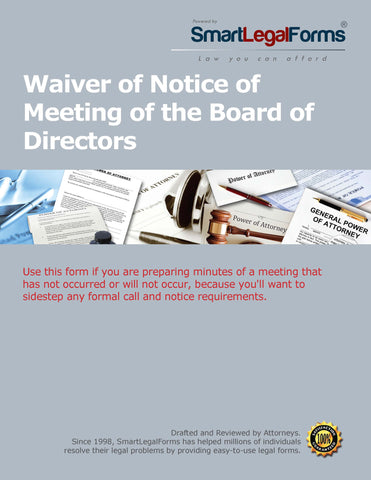 Waiver of Notice of Meeting of the Board - SmartLegalForms