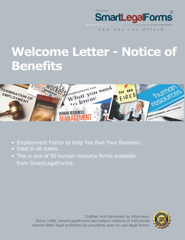 Welcome Letter - Notice of Benefits - SmartLegalForms