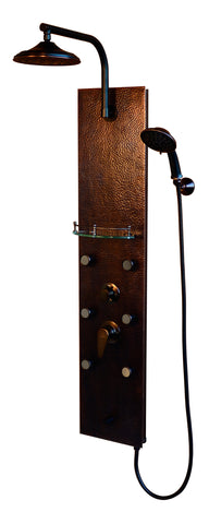 PULSE ShowerSpas Hammered Copper ORB Shower Panel - Sedona ShowerSpa