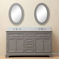 "Water Creation Derby 60"" Cashmere Grey Double Sink Bathroom Vanity With Matching Framed Mirrors and Faucets"
