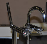 Gooseneck Chrome Floor-Mount Faucet - Still Waters Bath - 2