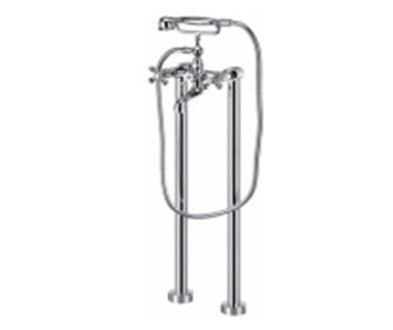 Vertical X-X Floor-Mount Freestanding Floor-Mount Faucet with Hand Shower - Still Waters Bath