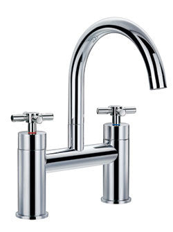 Gooseneck Chrome Deck-Mount Faucet - Still Waters Bath