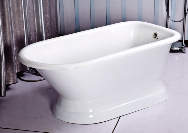 Tabitha 60-inch Roll Top Cast Iron Bathtub with pedestal