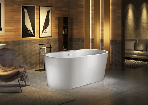 "Daniel 59"" Acrylic dual tub with deck mounting area"