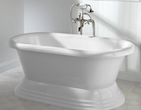 Dana 60-inch Dual Acrylic Bathtub with Pedestal - Still Waters Bath
