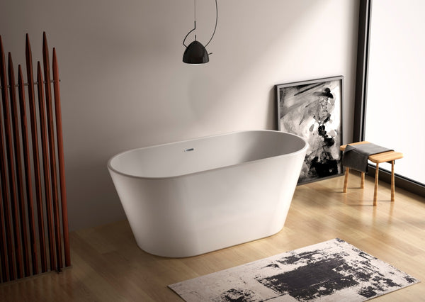 Easton 65-inch Dual Modern Oval Acrylic Bathtub