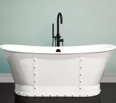 Colton 67-inch Riveted Cast Iron Skirted Double Slipper Bathtub