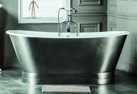 Jameson 67-inch skirted stainless steel cast iron bathtub