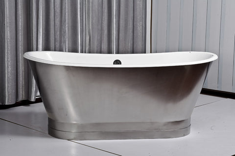 Jameson 67-inch skirted stainless steel cast iron bathtub - Still Waters Bath
