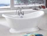 "Beckett 69"" Double Slipper Acrylic Bathtub"