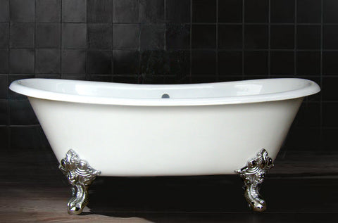Vanessa 71-inch Double Slipper Cast Iron Bathtub with Imperial Feet - Still Waters Bath - 2