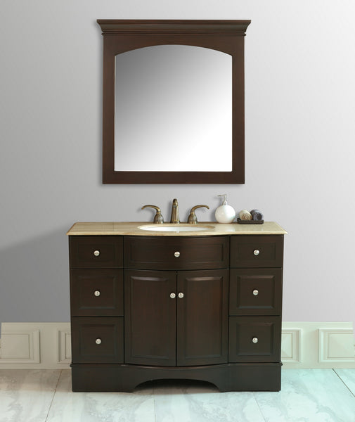 Lotus 48-inch Single Sink Vanity with Travertine Marble Top - Still Waters Bath - 1