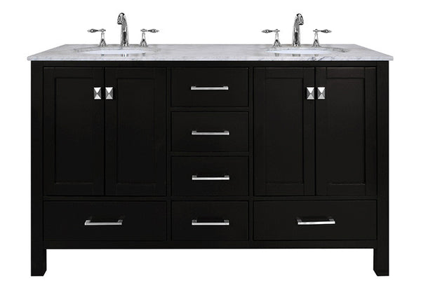 Malibu 60 Inch Double Sink Bathroom Vanity Still Waters Bath
