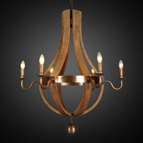 35-Inch Iron and Wood Farmhouse Chandelier Lighting LR3051-35