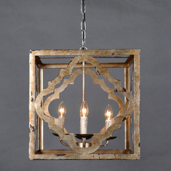 "18"" Farmhouse Iron and Chinese Crystal Construction Lighting"