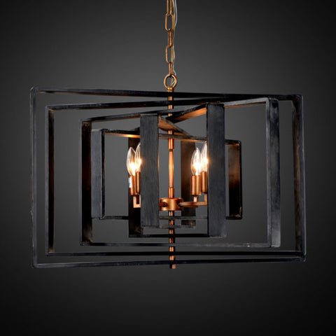 Impressive 28-inch Iron and Wood Chandelier