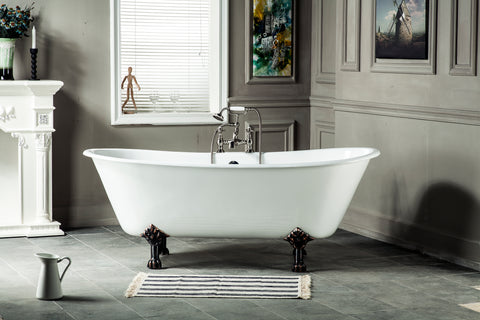 Charles 67-inch Double Slipper Cast Iron Bathtub with paw feet