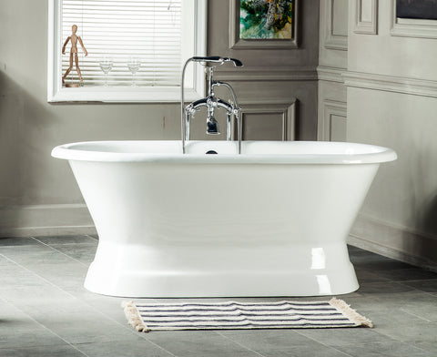 Marci 61-inch or 66-inch dual cast iron bathtub with pedestal