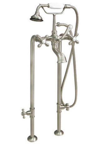 British Telephone Floor-Mount Faucet with Hand Shower