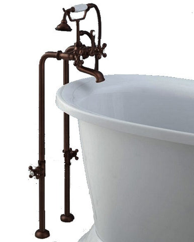 Ornate Bronze Vertical X-X Floor-Mount Faucet with Hand Shower - Still Waters Bath