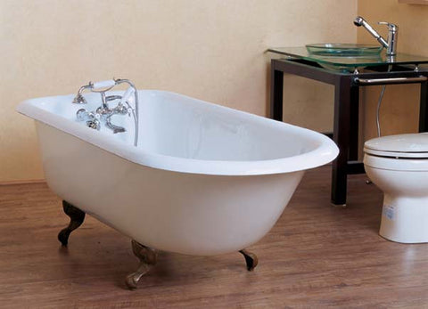 Irene 54-inch, 57-inch, 61-inch, 67-inch cast iron roll top bathtub - Still Waters Bath - 1