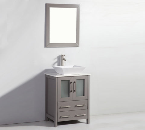 "24"" Solid Wood Sink Vanity with Mirror"