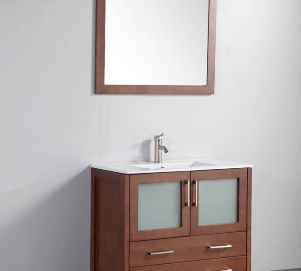 "36"" Solid Wood Sink Vanity with Mirror"