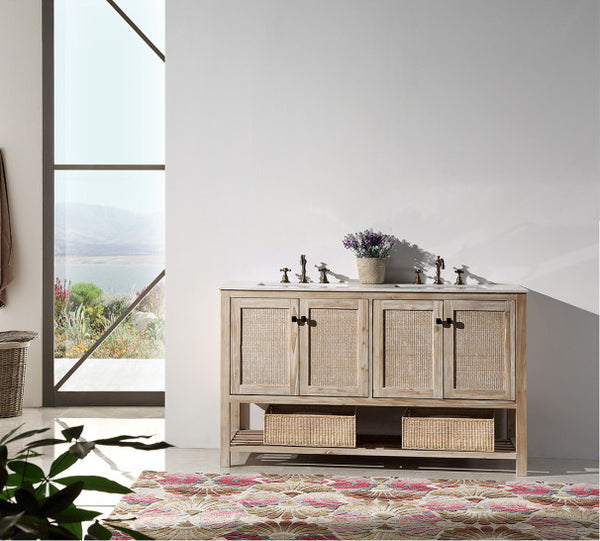 "60"" Solid Wood Sink Vanity with Marble Top-no Faucet"