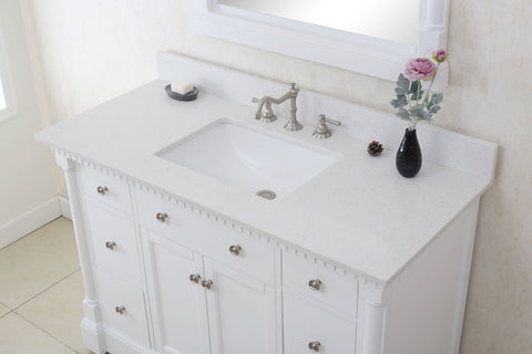 Antique White Sink Vanity with Quartz White Top